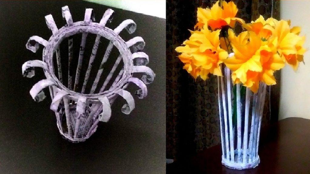 vas bunga dari koran bekas